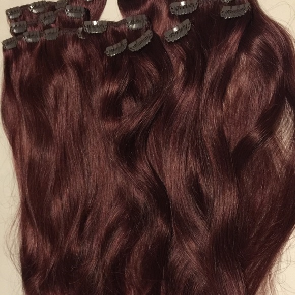 Foxy Locks Accessories Mahogany Red Clip In Human Hair Extensions